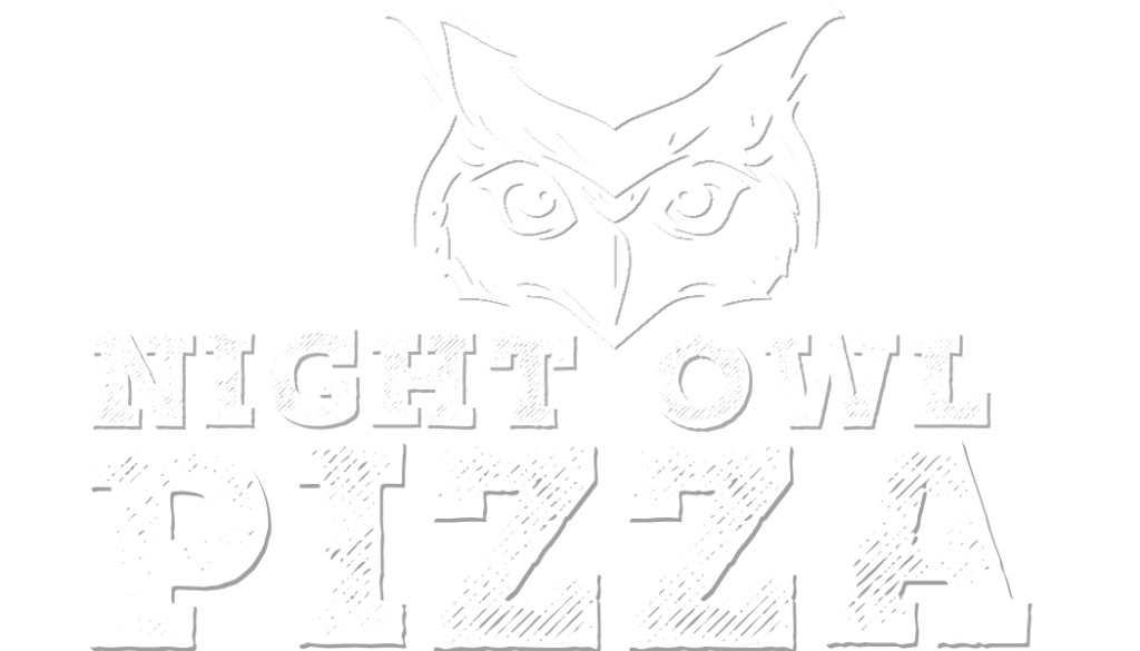 Night Owl Pizza logo in monochrome white.