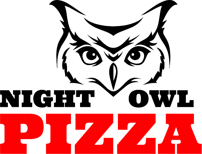 Night Owl Pizza logo on a transparent background. A black owl head with red pizza font.